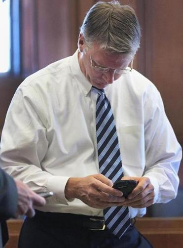 Former State Treasurer Timothy P. Cahil waited as jurors deliberated on Thursday.