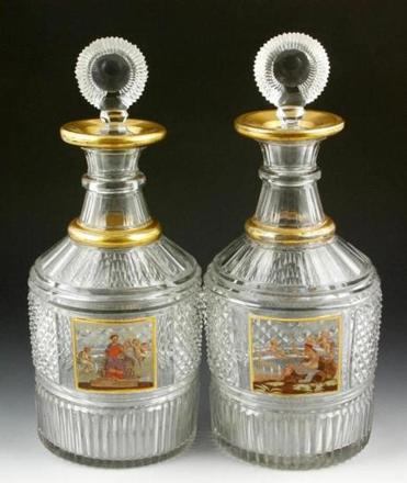Pair of 19th-century enameled cut glass decanters that descended in a Gloucester family set a record for English decanters when they sold for $46,215 at Kaminski Auctioneers' Thanksgiving Auction. The Duc d'Orléans Breguet Sympathique, below right, set a world auction record for a clock when it sold for $6.8 million at Sotheby's Important Watches and Clocks Auction this month.