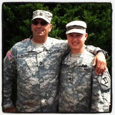 Darren Woolf, 51, and his son Michael, 25, are both serving in Afghanistan with the 181st Engineer Company.