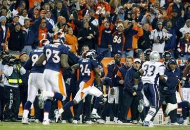 Champ Bailey returned an interception 101 yards before being knocked out of bounds at the 1-yard line by Benjamin Watson.