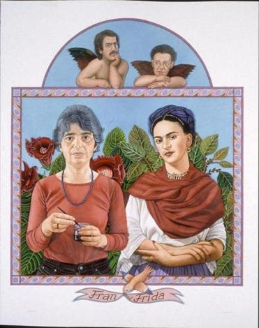 Jane Lund's painting features images of Frances Cohen Gillespie and Frida Kahlo.