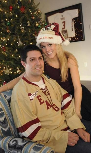 Pete Frates and his fiancee, Julie Kowalik, at their home in Beverly.
