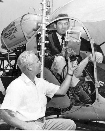 "John Silva with actor Gregory Peck in the KTLA Telecopter used for an opening sequence of ""The Big Country"" in 1958."