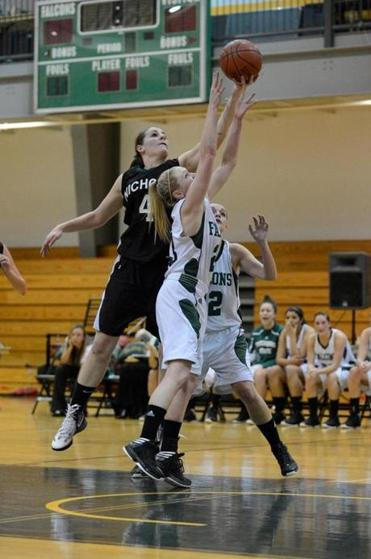 Hayley Zophin during Nichols vs. Fitchburg basketball.