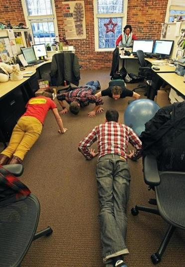 Employees at Vibram did pushups together in the office.