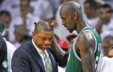 Doc Rivers and Kevin Garnett shared a moment as the Celtics' loss to the Heat was finalized.