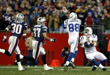 Marvin Harrison (88) and Dallas Clark both had Patriots defenders beaten on this pass, but it was Harrison who came up with the catch.