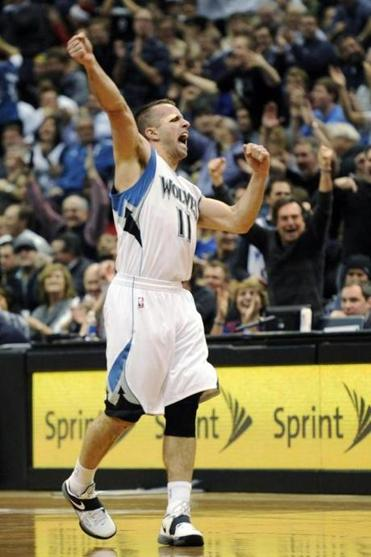 Minnesota Timberwolves' J. J. Barea celebrated a basket during the fourth quarter of an NBA basketball game against the Oklahoma City Thunder at the Target Center, Thursday, Dec. 20, 2012, in Minneapolis. The Timberwolves won 99-93.