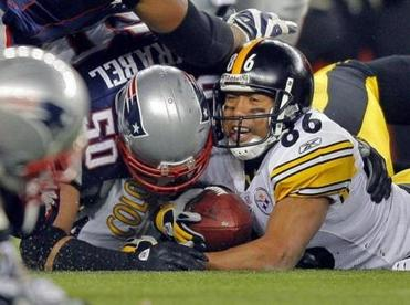 Hines Ward was stuffed on fourth down as the Patriots completed a goal-line stand.