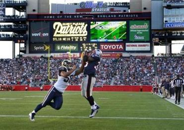 This 15-yard touchdown reception by Kevin Faulk turned into the game-winning points.