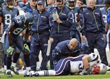 The Patriots lost Tedy Bruschi to a knee injury in the first half.