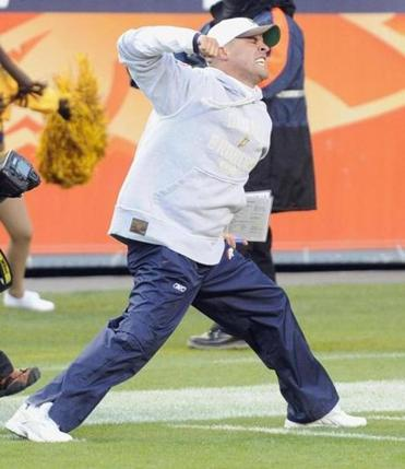 Josh McDaniels celebrated after beating the Patriots in overtime.