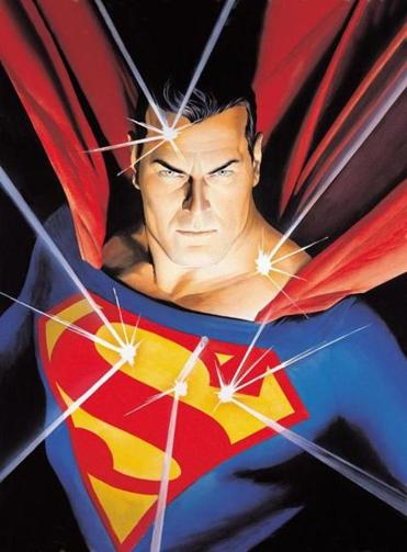 "Detail of Alex Ross's ""Mythology: Superman"" (2005), courtesy of the artist, SUPERMAN,™ & DC Comics."