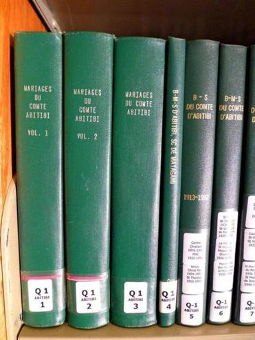 The American-Canadian Genealogical Society in Manchester has a wealth of genealogical records, most of them simply bound in plain covers but reaching back to the early 17th century founding of New France.