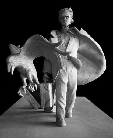 A model of a statue being created by sculptor Stefanie Rocknak to honor Edgar Allan Poe.