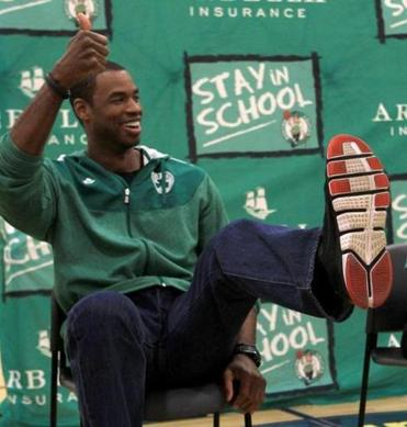Jason Collins appeared at a Celtics community event in January before being traded to the Wizards.