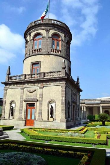 Gardens in El Castillo, home of the National Museum of History, Mexico City.
