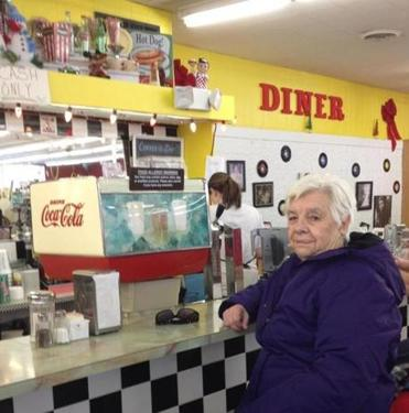 Millie Grover has been a regular at the Lord's store in Medfield since 1944.