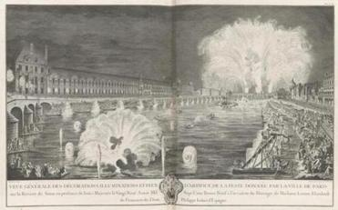 "Jacques-Francois Blondel after Salley, ""General View of the Decorations, Illuminations and Fireworks Given by the City of Paris on the River Seine.''"