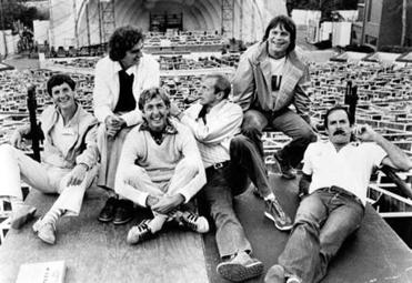 From left: Michael Palin, Terry Jones, Eric Idle, Graham Chapman, Terry Gilliam, and John Cleese, at the Hollywood Bowl, in Hollywood, California, 1982.