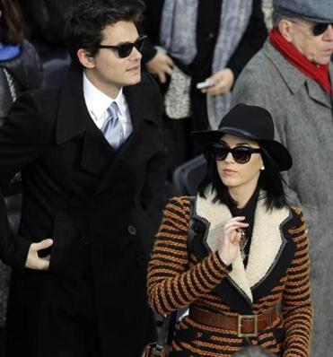 John Mayer and Katy Perry arrived for the inauguration.
