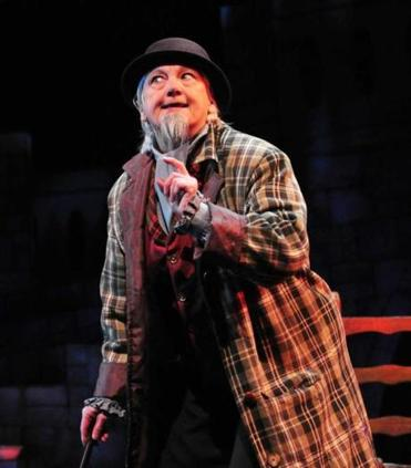"Jane Staab, one of the founders of Wheelock Family Theatre in 1981, plays Fagin in its production of the musical ""Oliver!"""