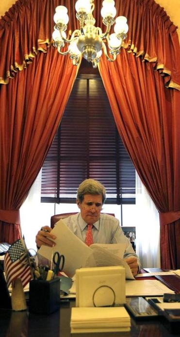 The august office of former senator John F. Kerry is now occupied by William Cowan, who temporarily replaced him.