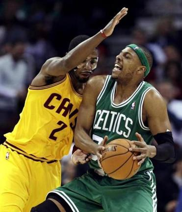 Paul Pierce was stopped by Cleveland's Kyrie Irving during the second quarter.