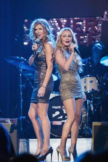 "Connie Britton (left) and Hayden PANETTIERE sing a duet in the NBC musical series ""Smash."""