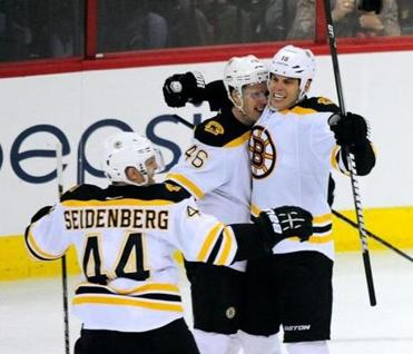 David Krejci was surrounded by his teammates after scoring the game-winning goal.