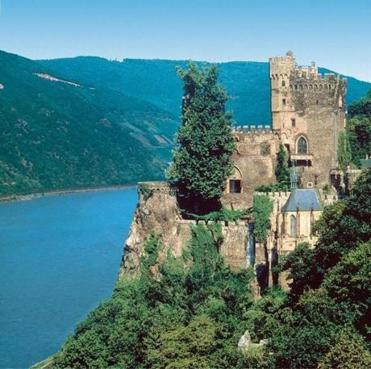 Built about 1,100 years ago on a rock cliff 270 feet above the Rhine as a customs post for the German Empire, Rheinstein Castle is a river cruising landmark.