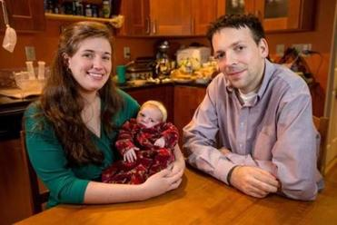 Ariane and Jakub Sroubek with daughter Hana at home in Cambridge. A resident at Mass. General, Jakub Sroubek got two weeks immediate paternity leave.