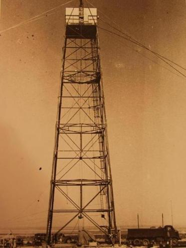 "The 100-foot tower where Donald Hornig ""baby-sat"" the atomic bomb in 1945."