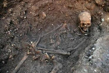 The skeleton of Richard III was found in a trench at the Grey Friars excavation site in Leicester.