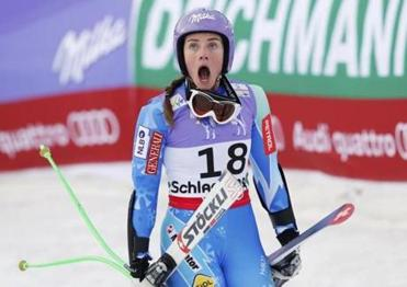 Fellow skier Tina Maze reacted after learning that American Lindsey Vonn had crashed during the super-G in Austria on Tuesday.