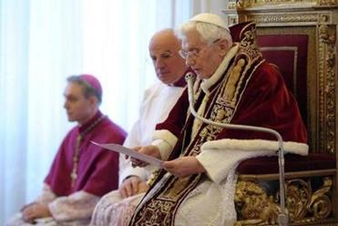 Pope Benedict XVI made his announcement Monday.