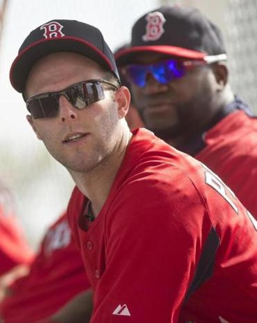 Dustin Pedroia sat on the bench with David Ortiz Tuesday after the first official spring training day for pitchers and catchers at JetBlue Park.
