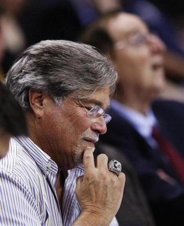 Carnival CEO Micky Arison at Tuesday's game in Miami between his team, the Heat, and the Portland Trail Blazers.