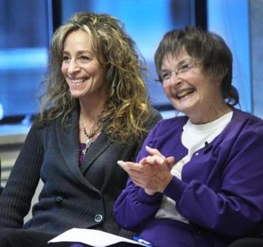 Betsy Barry, niece of Kitty Dukakis, and Kelly MacDonald, a nurse, attended the public hearing.