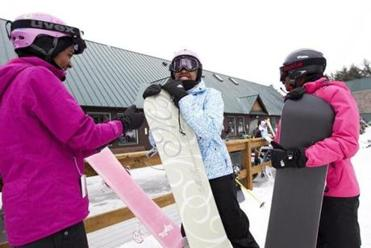 From left: Alexandra Miller-Browne, 17, her sister, Victoria, 14, of Medford, and Jada Plummer, 15, Worcester, chatted before hitting the slopes.
