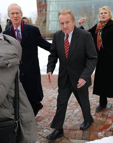 Former Chelsea housing chief Michael McLaughlin left Moakley Federal Court after pleading guilty Tuesday to four counts of deliberately concealing his ­inflated salary.