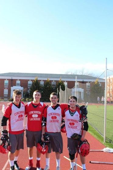 Lynchburg College men's lacrosse players (from left) Vin Curran of Hull, Luke Ernst of Cohasset, Derek Sweet of Duxbury, and Todd Galvin of Whitman.