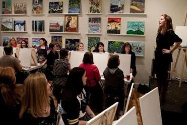 "Jackie Schon taught an evenings painting class at ""The Paint Bar"" in Newton."