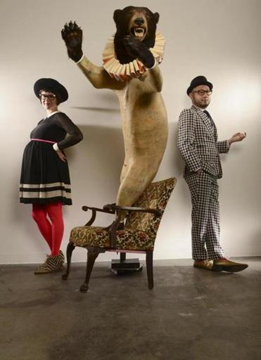 Boston, MA 021913 George Wong and Victoria Ellman were photographed on February 19, 2013 for the upcoming 25 Most Stylish at La Montagne Gallery in South Boston. On this photo they share the space with: Liberdade 2012, a taxidermic bear, chair, hand-drawn paper and books. (Essdras M Suarez/ Globe Staff/ MAG ASSISTANT: CECILLE AVILA