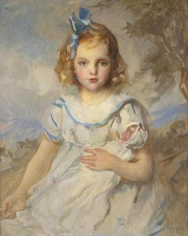 """My Favorite Doll,"" the 1918 oil portrait of 4-year-old Wilhelmine Kirby by the Boston Impressionist Edmund Tarbell in its original Arts & Crafts frame, is expected to bring $45,000-$65,000 at Northeast Auctions' Weekend Auction in Portsmouth, N.H.This Chippendale carved mahogany serpentine chest of drawers attributed to the Salem cabinetmaker John Chipman will be offered with a $25,000-$45,000 estimate. This Staffordshire dark-blue transfer-printed pitcher with a picture of the State House will be offered with a $400-$600 estimate. At Sotheby's Wednesday, a grand piano by the French Art Deco designer Émile-Jacques Ruhlmann from the Ladies' Drawing and Music Room of the French luxury liner SS Normandie will be auctioned with a $400,000-$600,000 estimate."