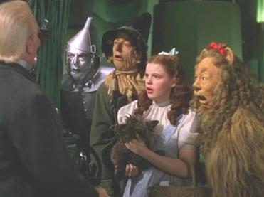 "From left: Frank Morgan, Jack Haley, Ray Bolger, Judy Garland and Bert Lahr in the 1939 film ""The Wizard of Oz."""