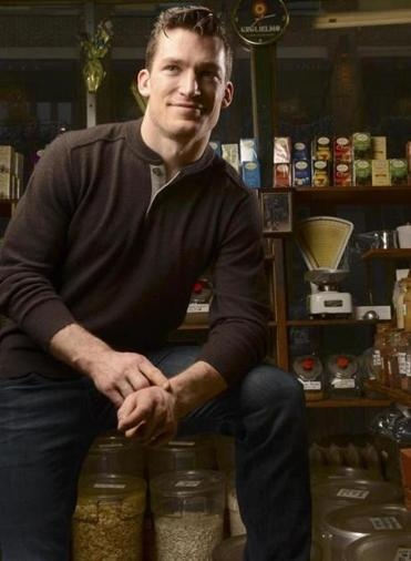 Bruin's Andrew Ference at Polcari's Coffee in the North End.