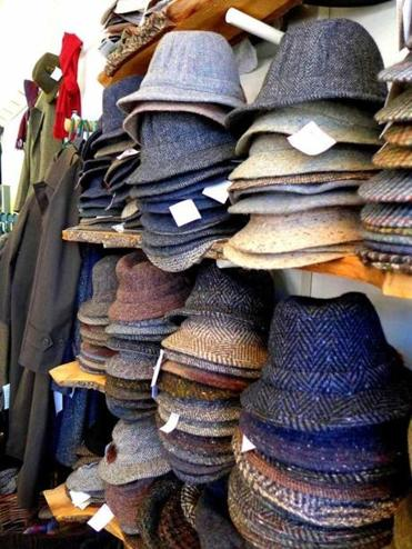 Classic Irish wool hats from Irish Imports in Cambridge.
