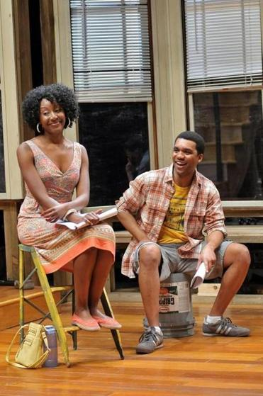 "Marvelyn McFarlane (left) and DeLance Minifee in SpeakEasy Stage's ""Clybourne Park."""