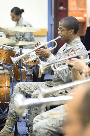 Performing for veterans' groups as he has done many times over his nine years with the Band of Liberty, trumpet player Staff Sergeant Quincy Garner said he has a deep appreciation for the emotional bond formed between audiences and the musicians.